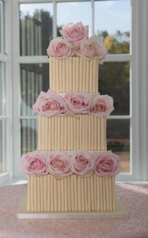 St helens avalanche rose cigerello white chocolate wedding cake