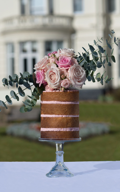 Naked single tier wedding cake