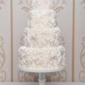 full ruffled rosette wedding cake