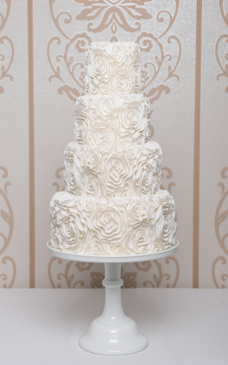 white wedding cakes images white wedding cake custom designed 3 tier modern ruffle 27386