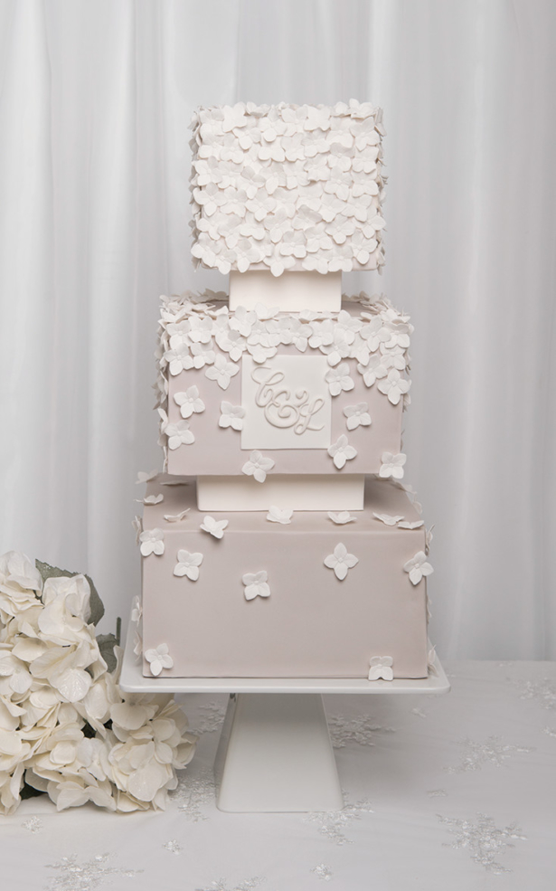 hydrangea square wedding cake