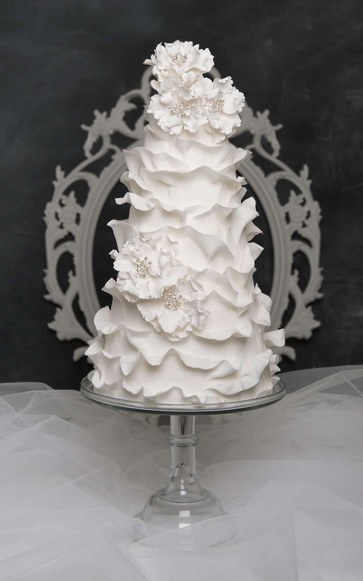 ruffled wedding cakes bling wedding cake custom designed white modern ruffle 19458