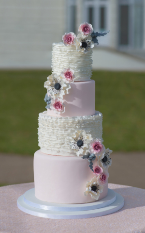 ruffled anenome pink wedding cake