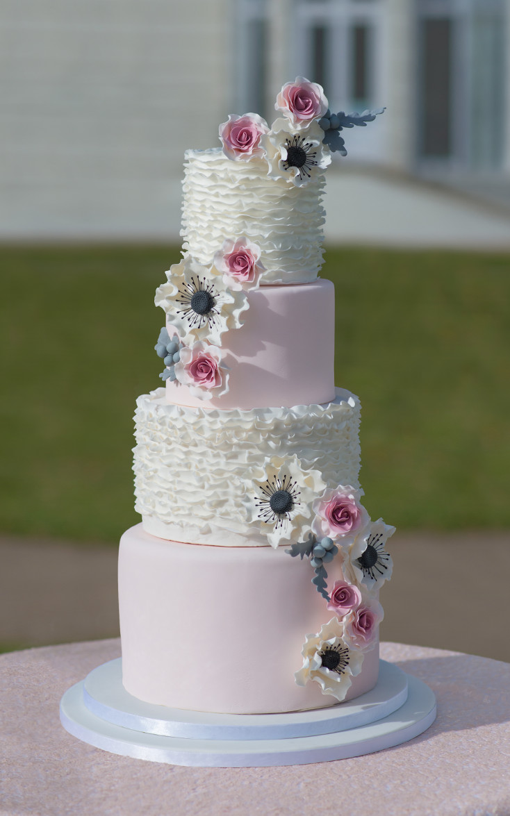 dusty pink and silver wedding cake pink wedding cake custom designed 4 tier modern ruffle 13795