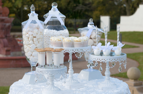 candy buffet sweet table white