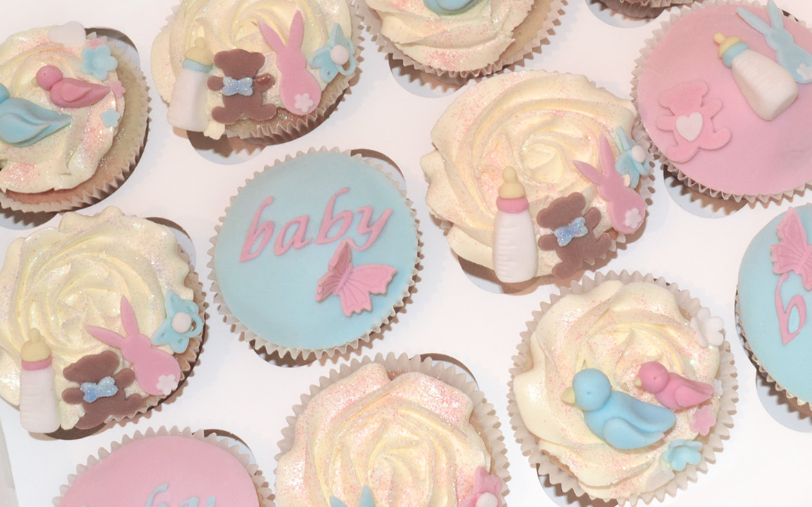 Baby Shower Cakes Pink Blue Cupcakes Celebration Cakes