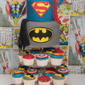 boys super hero birthday cupcake tower