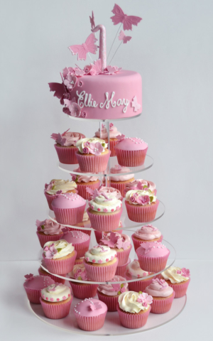 Girls 1st Birthday Cake cupcake tower
