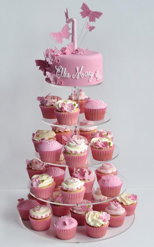 Girls 1st Birthday Cake cupcake tower