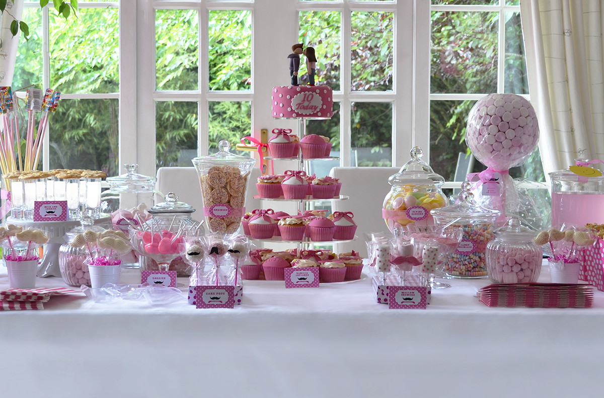 candy buffet sweet table pink