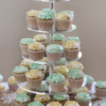 beach wedding cupcake tower