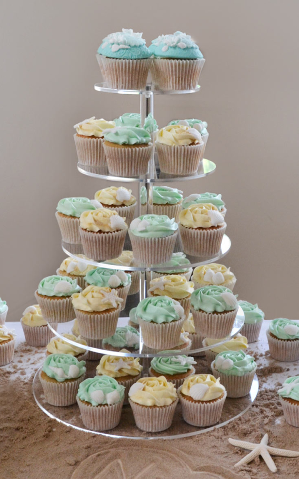 Beach Wedding Cakes cupcake tower
