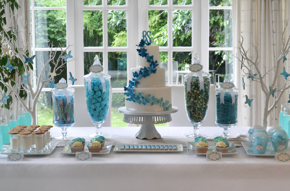 candy buffet sweet table blue