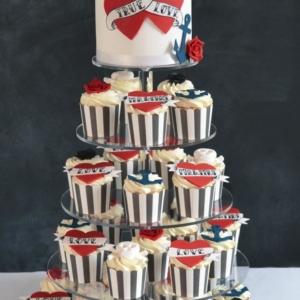 Tattoo Wedding Cake cupcake tower