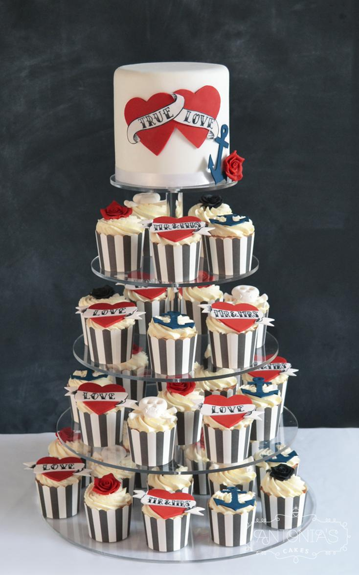 Tattoo Wedding Cake cupcake tower