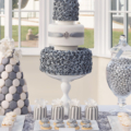 silver rose candy buffet wedding cake close up
