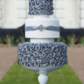 silver rose wedding cake shot