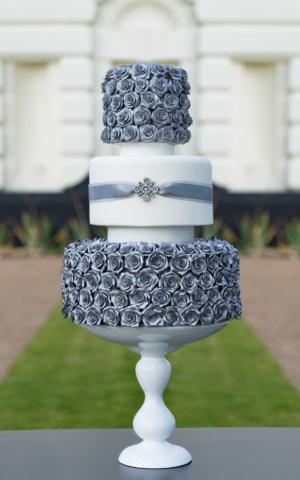silver rose 3 tier wedding cake