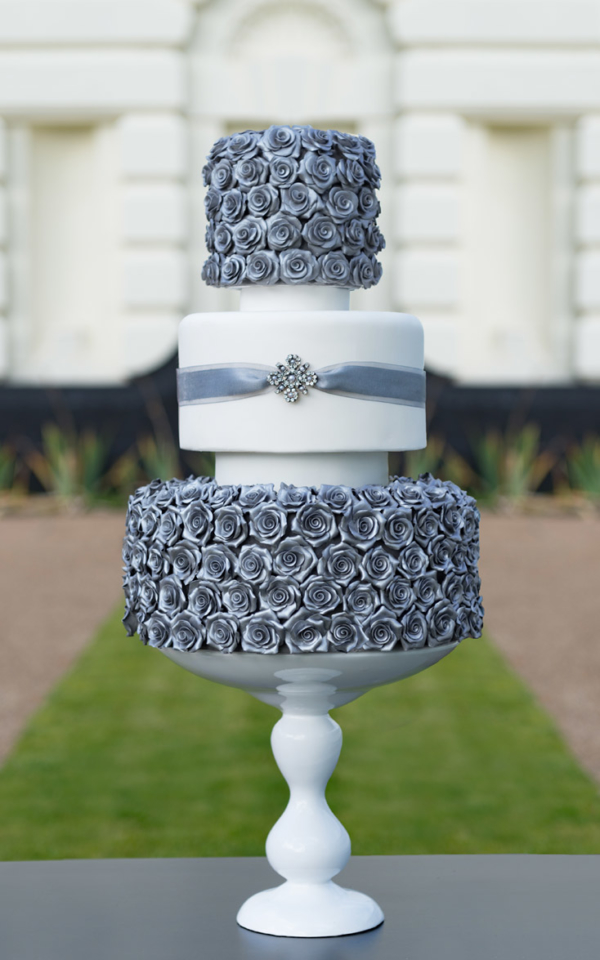 silver rose 3 tier wedding cake