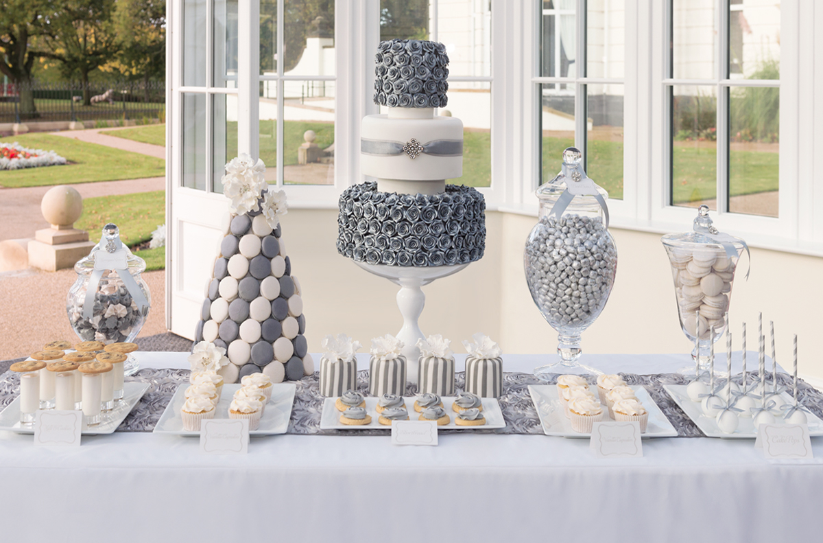 candy buffet sweet table silver