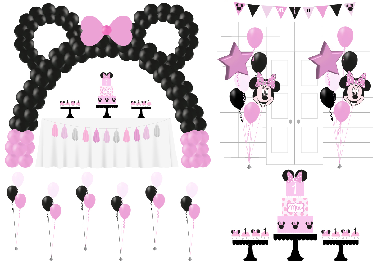 minnie mouse balloons and cake package