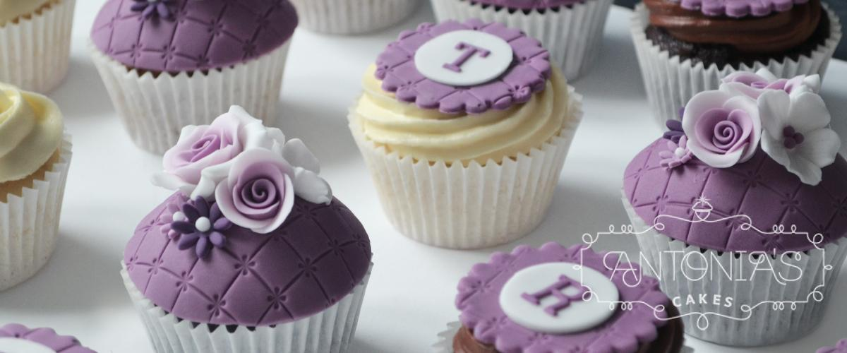 wedding favour purple rose cupcake