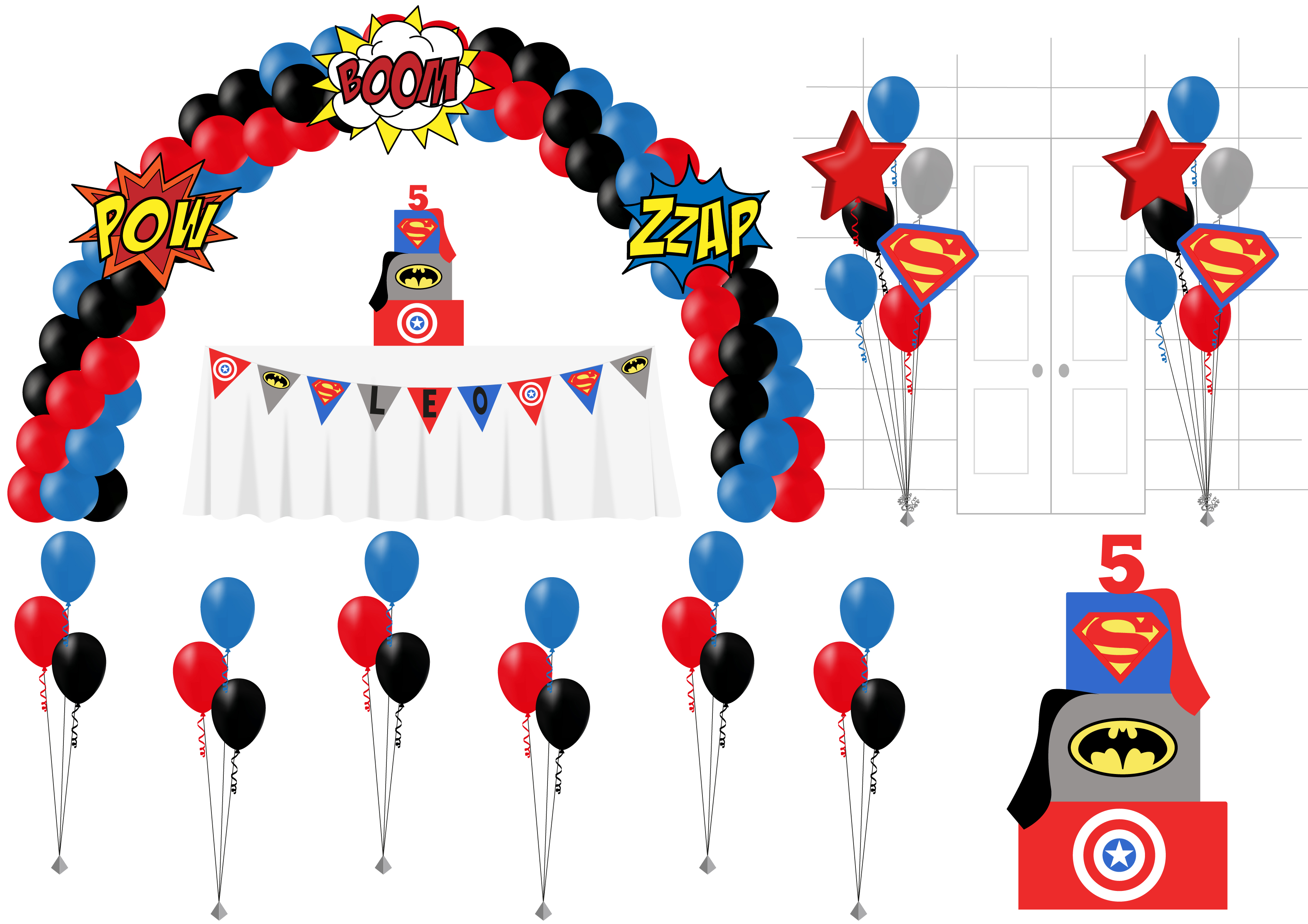 superhero party package birthday balloon delivery