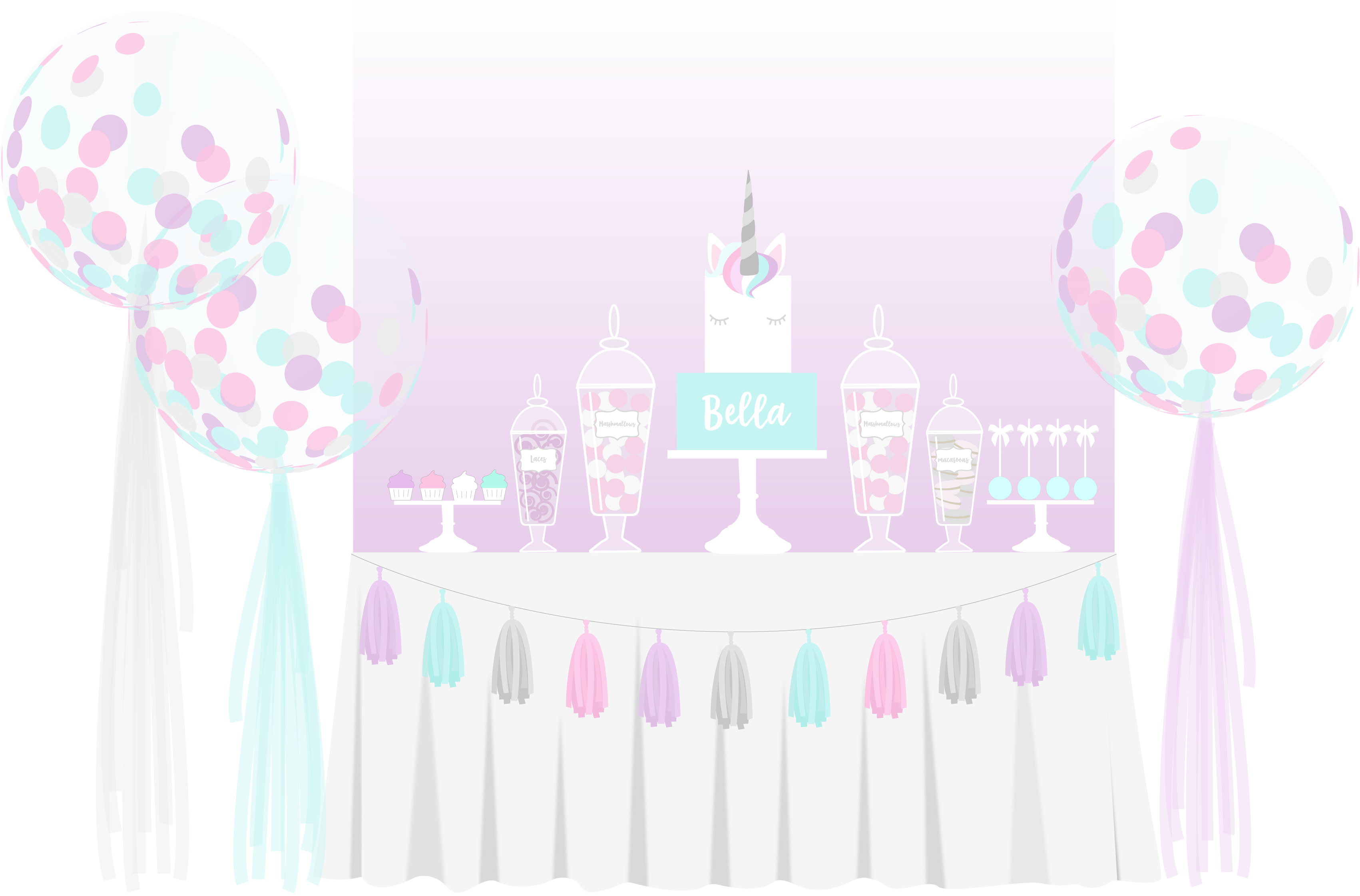 unicorn cake & balloon package