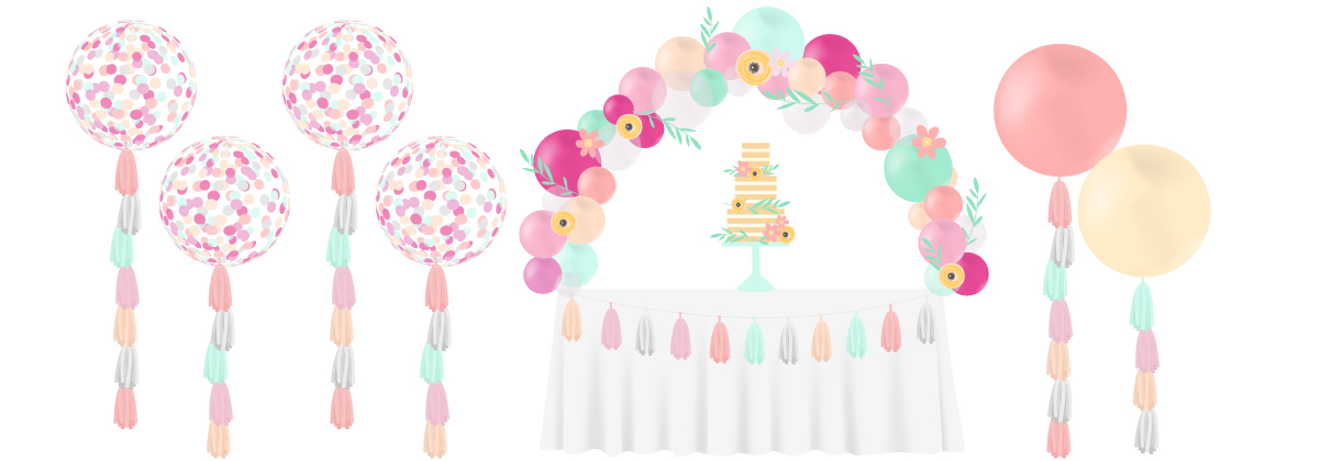 naked cake wedding balloons