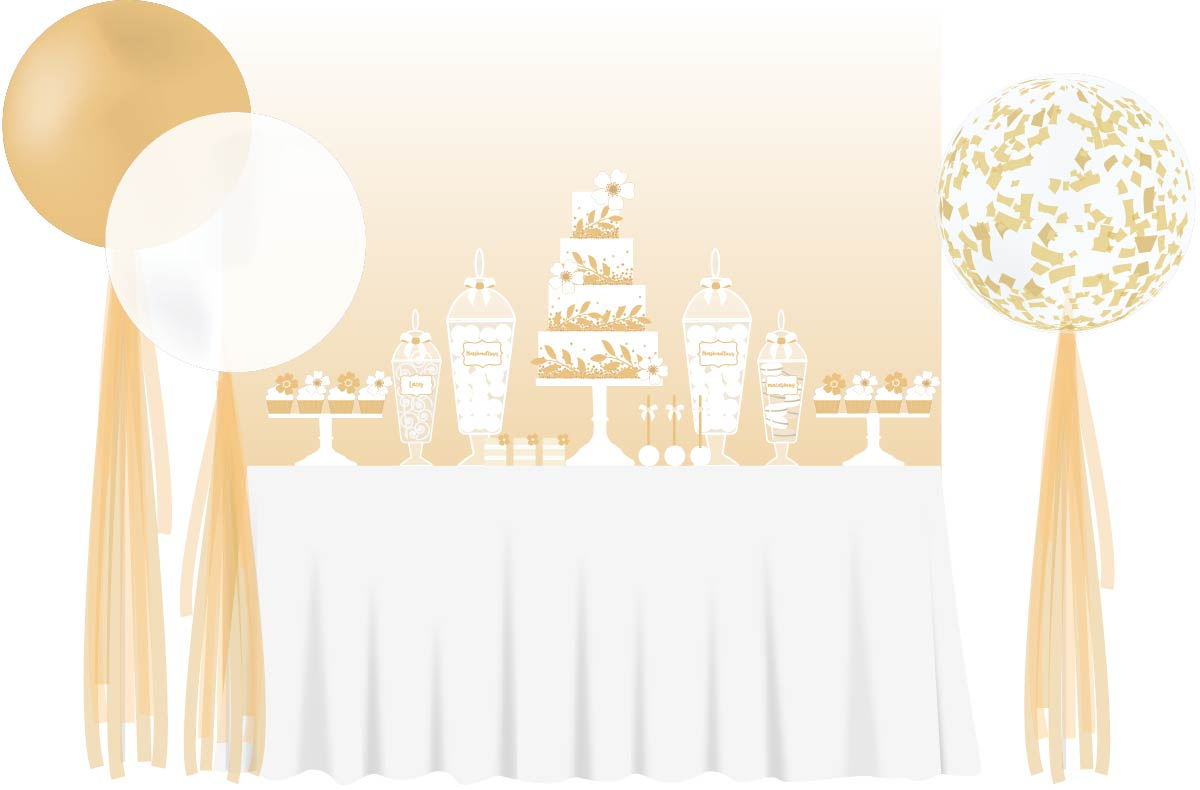 gold Sweet table wedding balloons