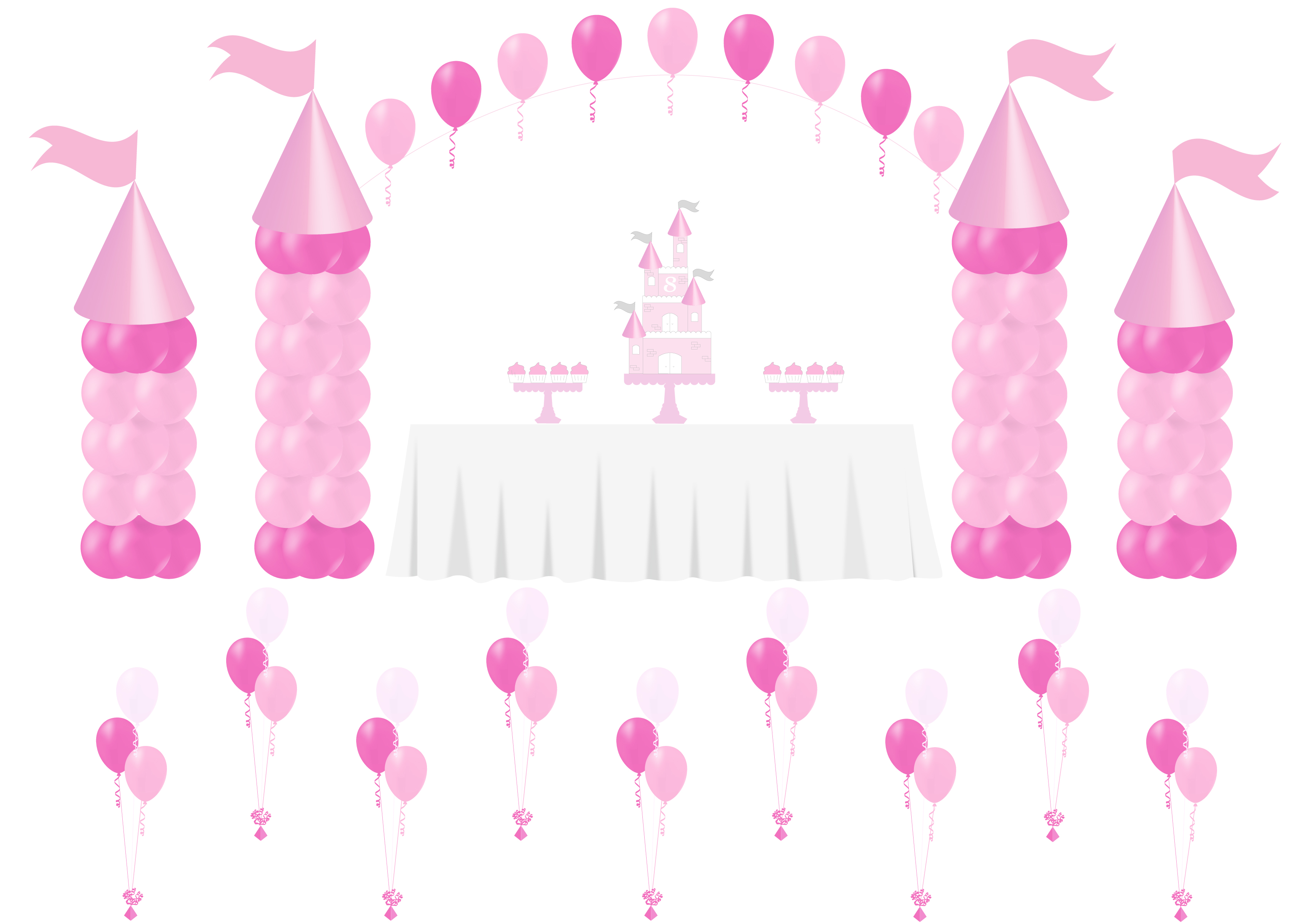 girls birthday princess balloons