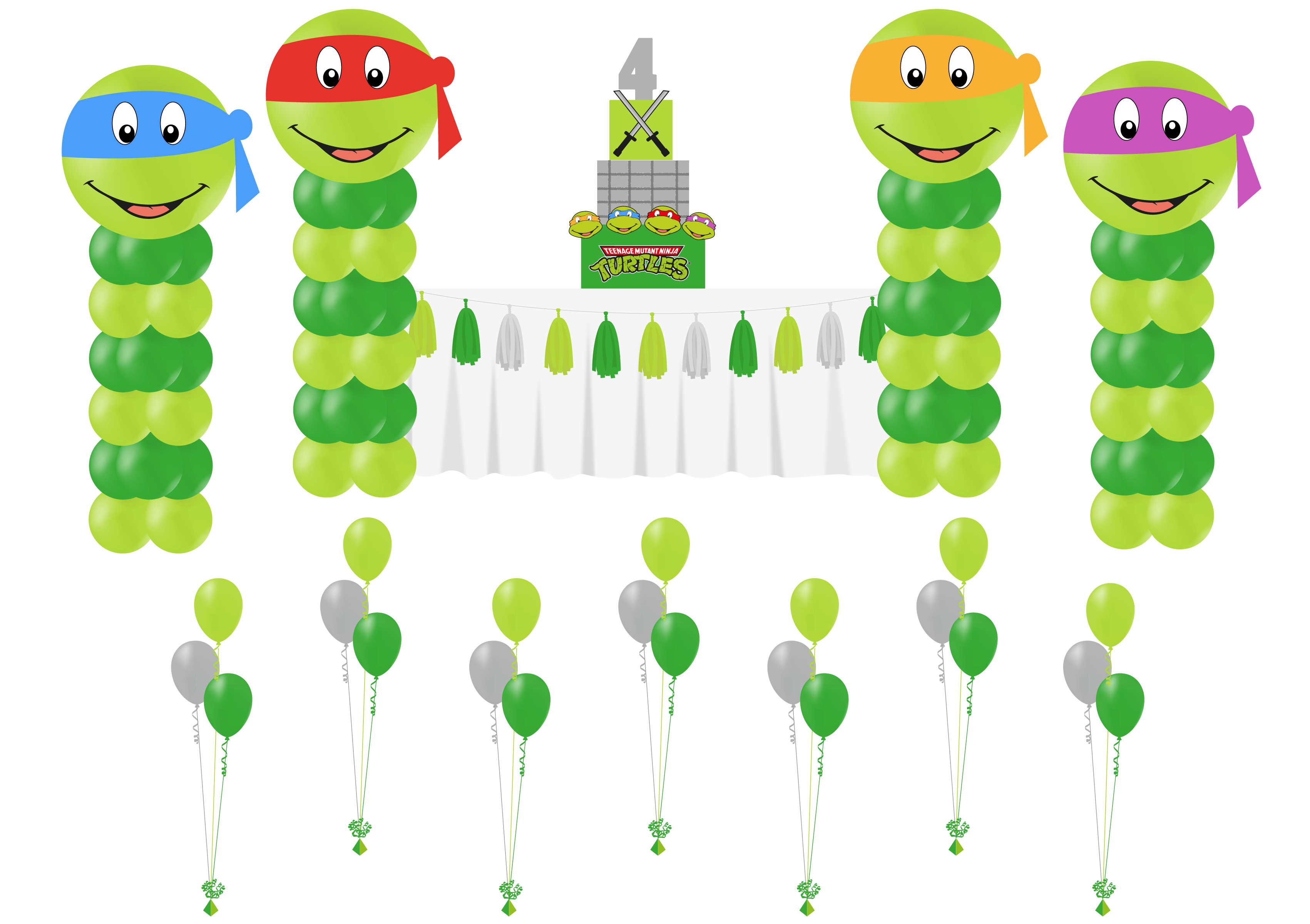 TMNT kids party balloons