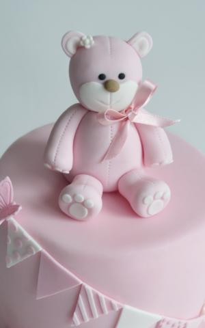 girls pink christening cake