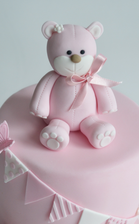 girls pink christening cake