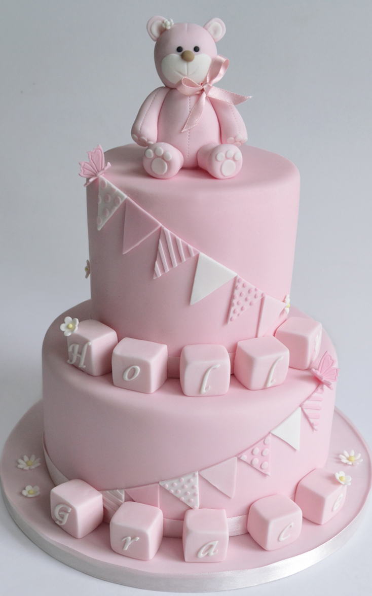 Girls Christening Cake 1st birthday cakes baby shower bunting