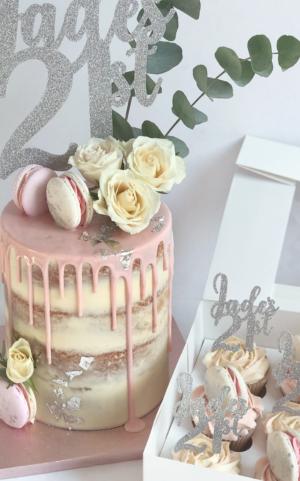 21st birthday cake, drip cake