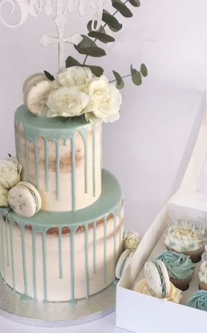 christening cakes and cupcakes