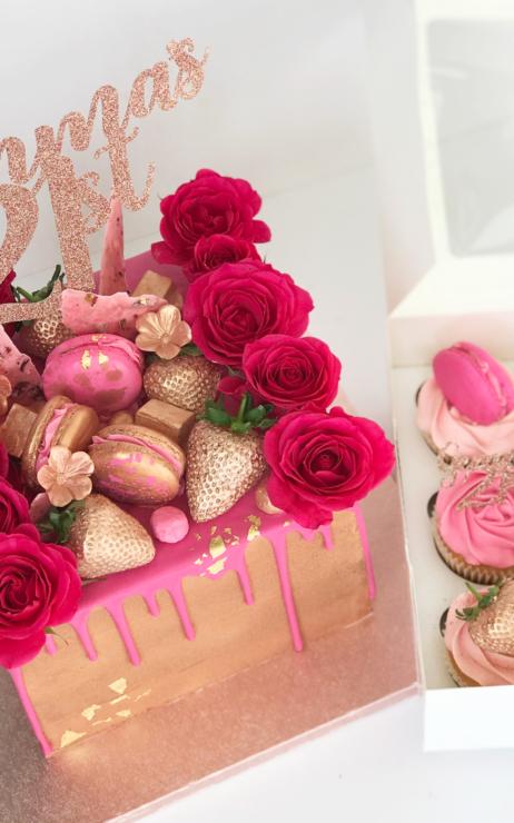 pink drip cake square