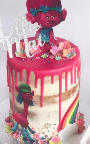 Girls drip trolls cake