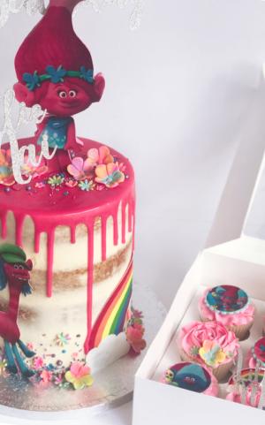 trolls birthday cakes and cupcakes