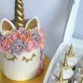 Birthday Unicorn Cake with cupcakes