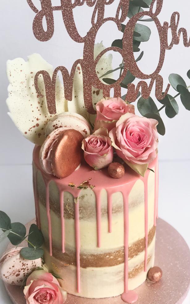 60th Birthday Cake rose gold
