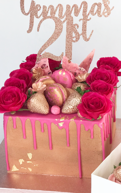 square cake rose gold