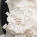modern white ruffle wedding cake bling close up 2-1