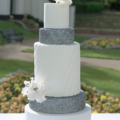 silver sequin pleated wedding cake