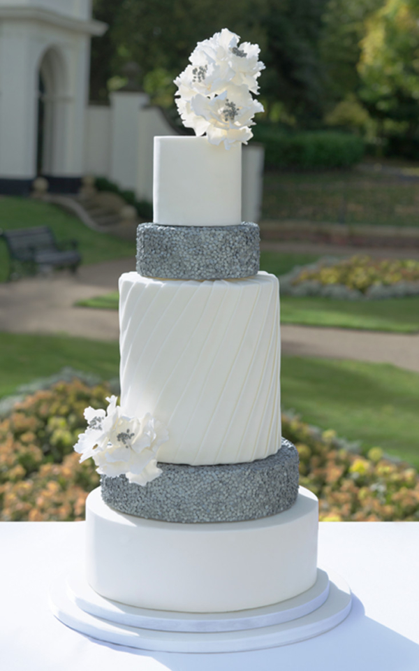 sequined Silver Wedding Cake