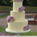 white chocolate wedding cake fresh flowers