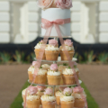 fresh flower rose bud wedding cake cupcake tower