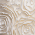 full ruffled rosette wedding cake close up 1