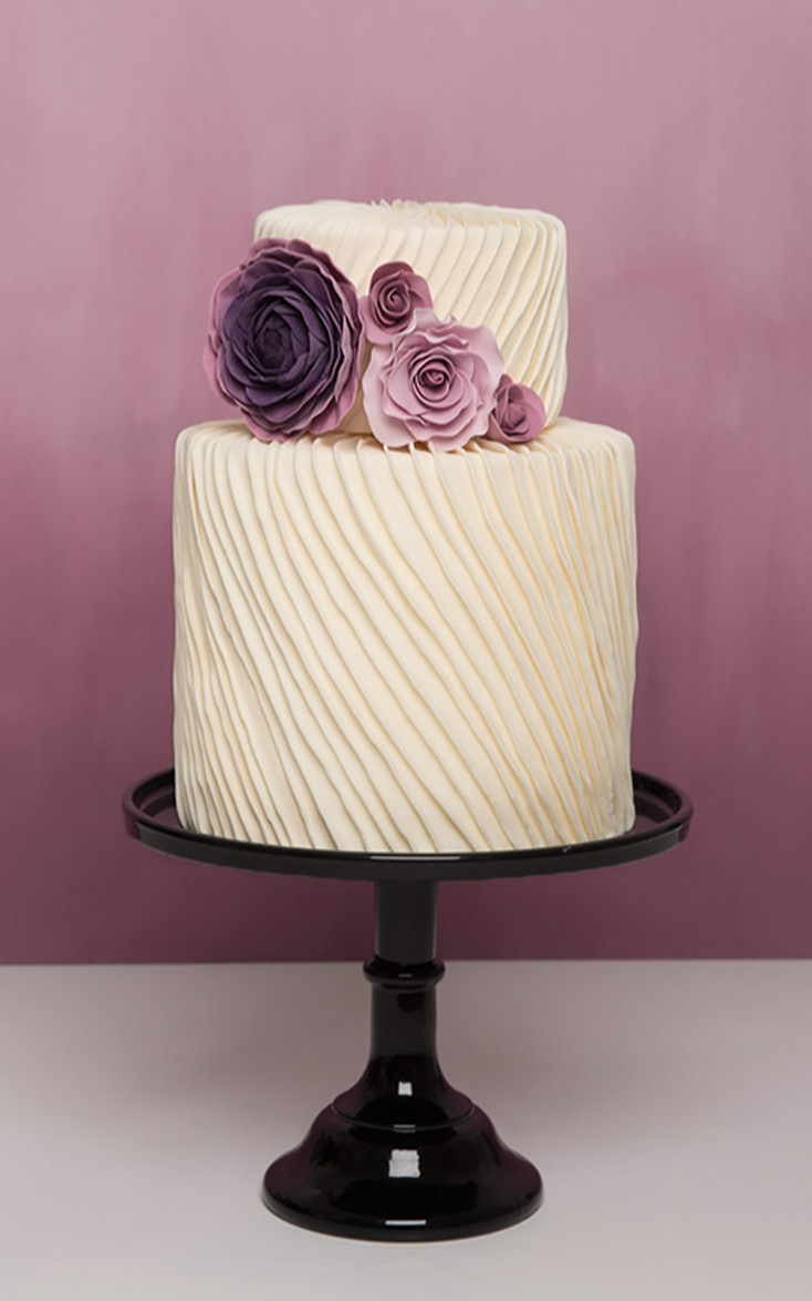 pleated modern wedding cake